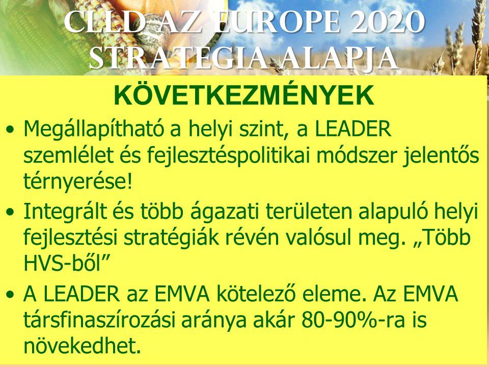 CLLD az Europe 2020 StrategIA alapja KÖVETKEZMÉNYEK Megállapítható a helyi szint, a LEADER szemlélet és fejlesztéspolitikai módszer jelentős térnyerése.