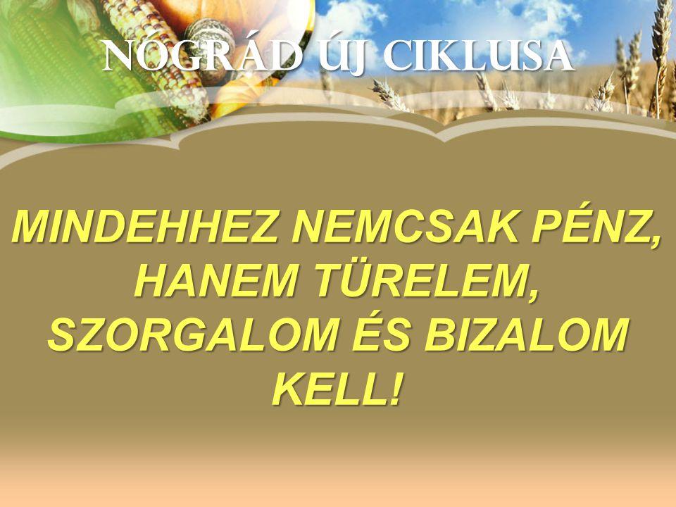 NÓGRÁD ÚJ CIKLUSA MINDEHHEZ NEMCSAK PÉNZ, HANEM TÜRELEM, SZORGALOM ÉS BIZALOM KELL!