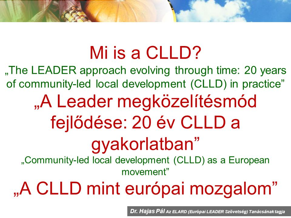 "Mi is a CLLD? ""The LEADER approach evolving through time: 20 years of community-led local development (CLLD) in practice"" ""A Leader megközelítésmód fe"