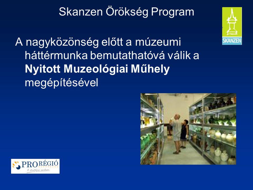 Skanzen Örökség Program A nagyközönség előtt a múzeumi háttérmunka bemutathatóvá válik a Nyitott Muzeológiai Műhely megépítésével