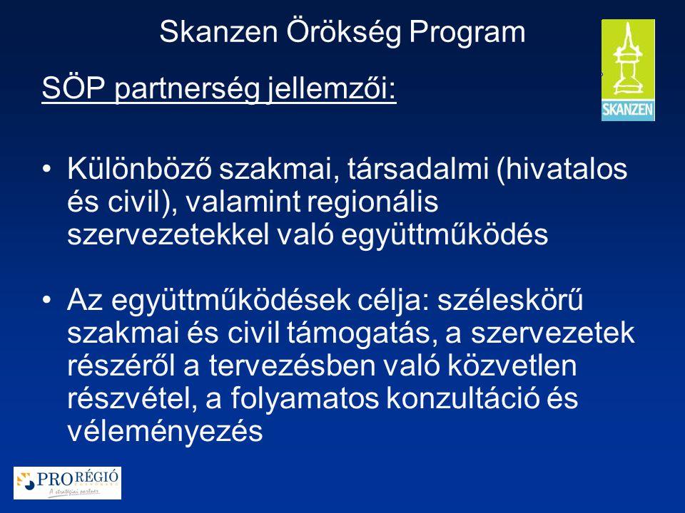 Skanzen Örökség Program SÖP partnerség jellemzői: Különböző szakmai, társadalmi (hivatalos és civil), valamint regionális szervezetekkel való együttműködés Az együttműködések célja: széleskörű szakmai és civil támogatás, a szervezetek részéről a tervezésben való közvetlen részvétel, a folyamatos konzultáció és véleményezés