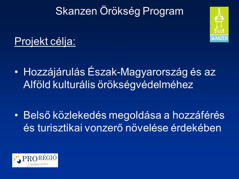 Skanzen Örökség Program Projekt célja: Hozzájárulás Észak-Magyarország és az Alföld kulturális örökségvédelméhez Belső közlekedés megoldása a hozzáférés és turisztikai vonzerő növelése érdekében