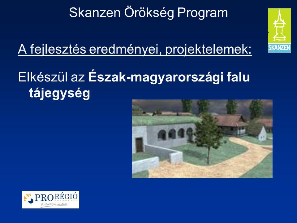 Skanzen Örökség Program A fejlesztés eredményei, projektelemek: Elkészül az Észak-magyarországi falu tájegység
