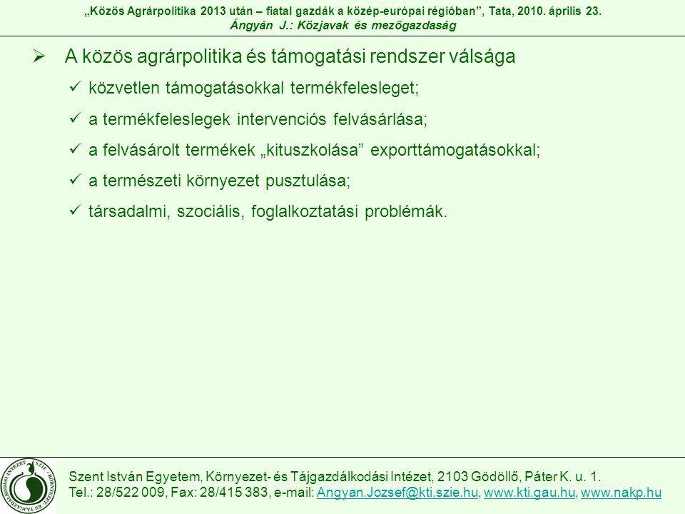 Szent István Egyetem, Környezet- és Tájgazdálkodási Intézet, 2103 Gödöllő, Páter K. u. 1. Tel.: 28/522 009, Fax: 28/415 383, e-mail: Angyan.Jozsef@kti