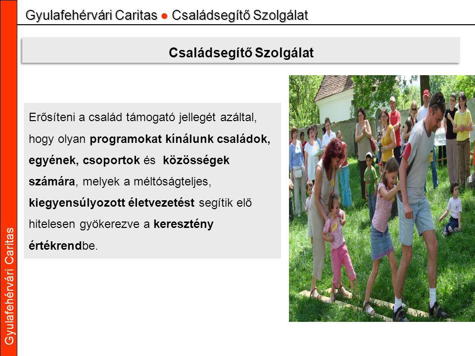 Gyulafehérvári Caritas Gyulafehérvári Caritas ● Családsegítő Szolgálat Családsegítő Szolgálat Erősíteni a család támogató jellegét azáltal, hogy olyan