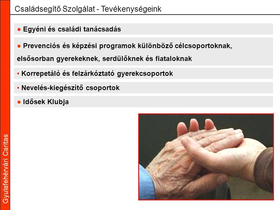 Gyulafehérvári Caritas ● Egyéni és családi tanácsadás Családsegítő Szolgálat - Tevékenységeink ● Prevenciós és képzési programok különböző célcsoporto