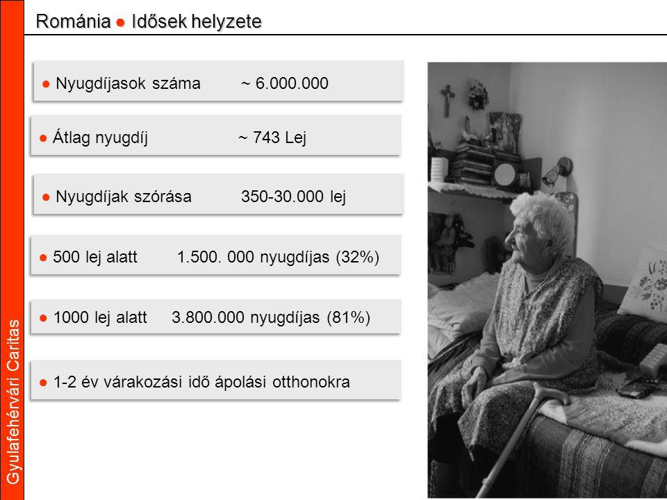 Gyulafehérvári Caritas ● Nyugdíjasok száma~ 6.000.000 ● Átlag nyugdíj~ 743 Lej ● Nyugdíjak szórása350-30.000 lej ● 500 lej alatt 1.500.