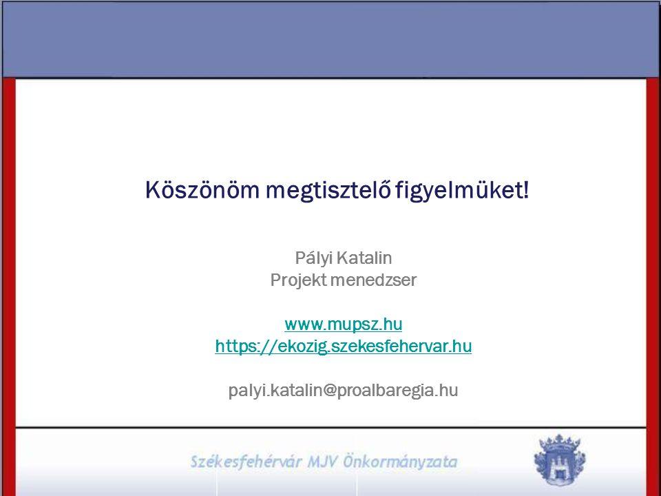 Köszönöm megtisztelő figyelmüket! Pályi Katalin Projekt menedzser www.mupsz.hu https://ekozig.szekesfehervar.hu palyi.katalin@proalbaregia.hu