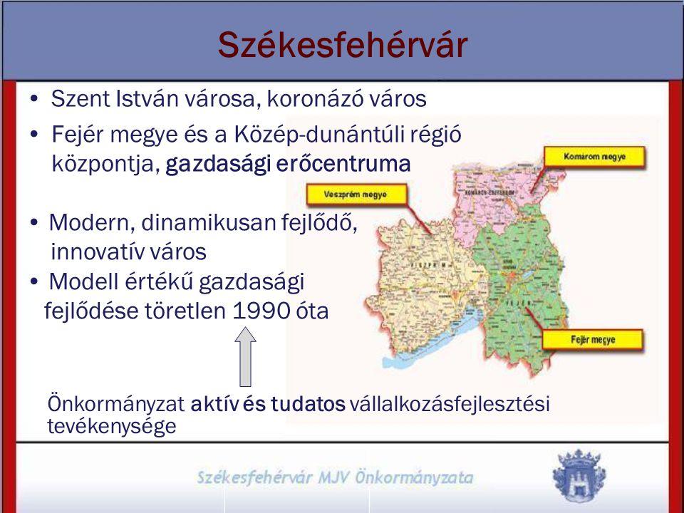 Székesfehérvár Szent István városa, koronázó város Fejér megye és a Közép-dunántúli régió központja, gazdasági erőcentruma Önkormányzat aktív és tudat