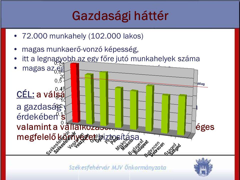 Gazdasági háttér 72.000 munkahely (102.000 lakos) magas munkaerő-vonzó képesség, CÉL: a válság negatív hatásainak enyhítése, a gazdaság versenyképessé