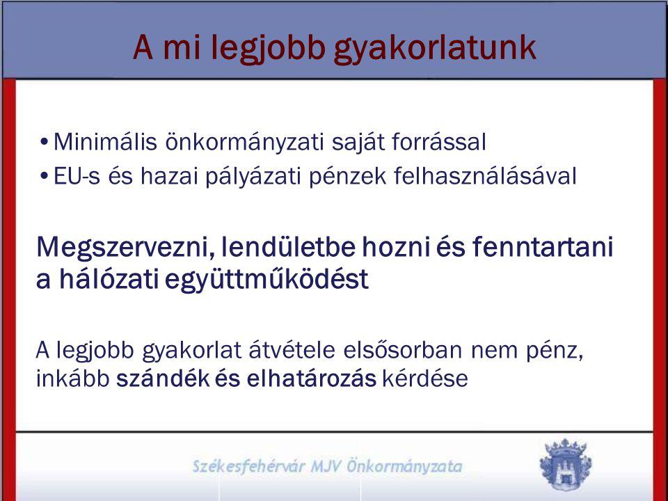 A mi legjobb gyakorlatunk Minimális önkormányzati saját forrással EU-s és hazai pályázati pénzek felhasználásával Megszervezni, lendületbe hozni és fe
