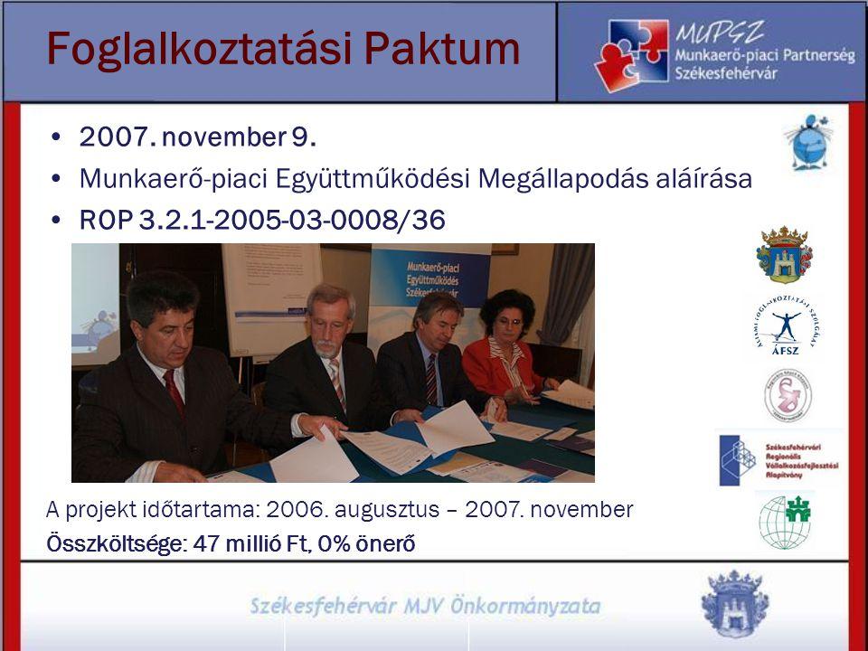 Foglalkoztatási Paktum 2007. november 9. Munkaerő-piaci Együttműködési Megállapodás aláírása ROP 3.2.1-2005-03-0008/36 A projekt időtartama: 2006. aug
