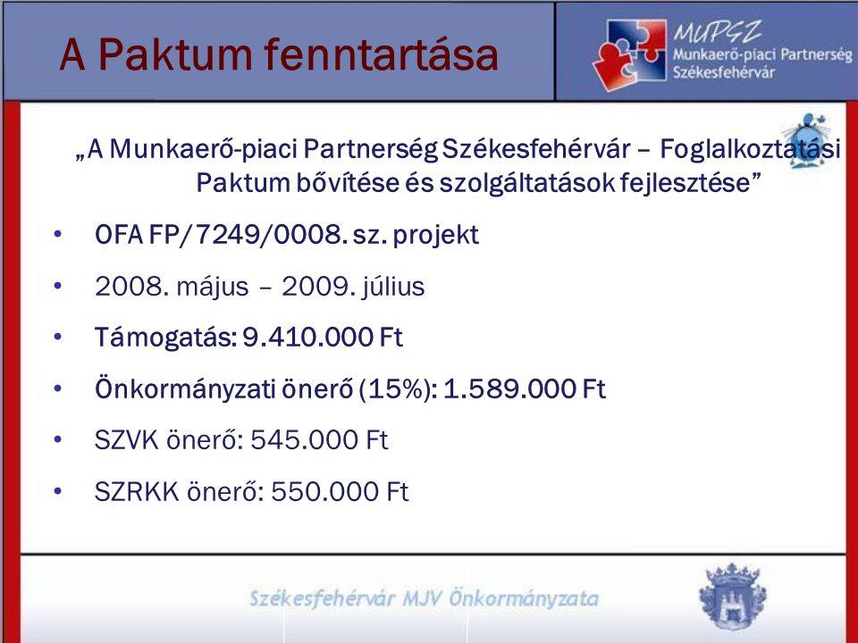 """""""A Munkaerő-piaci Partnerség Székesfehérvár – Foglalkoztatási Paktum bővítése és szolgáltatások fejlesztése"""" OFA FP/7249/0008. sz. projekt 2008. május"""