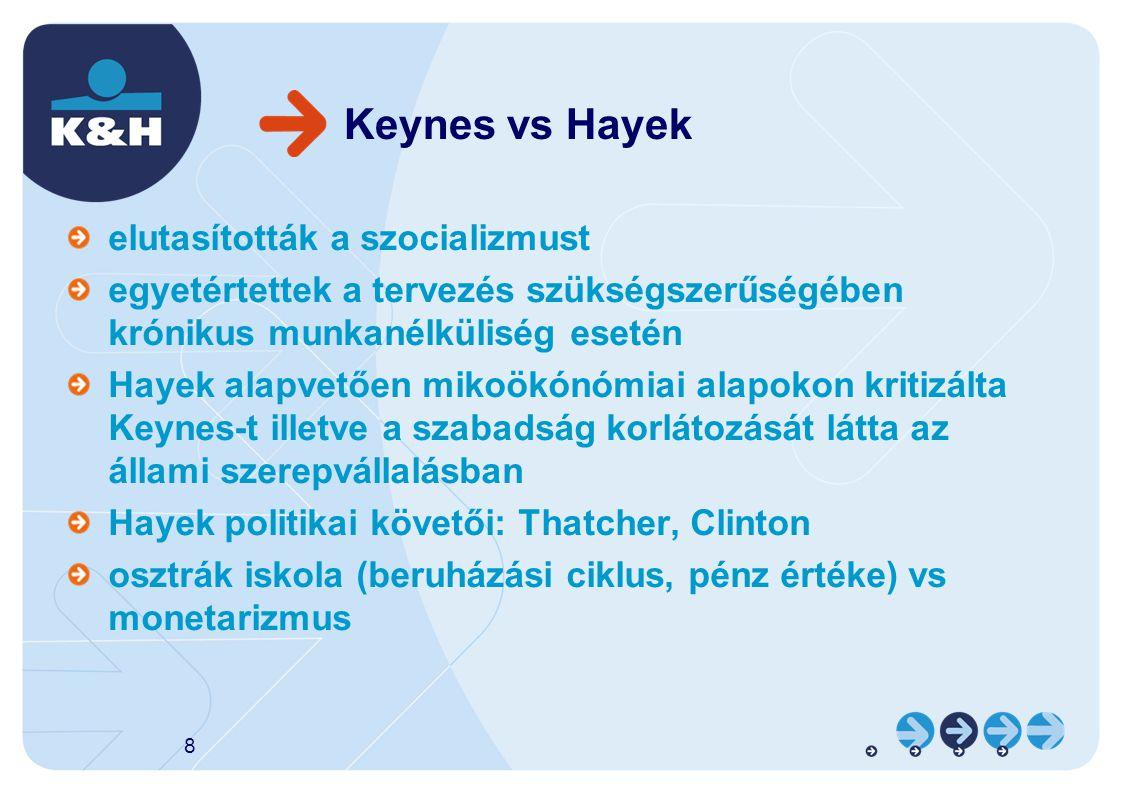 Keynes vs Hayek elutasították a szocializmust egyetértettek a tervezés szükségszerűségében krónikus munkanélküliség esetén Hayek alapvetően mikoökónómiai alapokon kritizálta Keynes-t illetve a szabadság korlátozását látta az állami szerepvállalásban Hayek politikai követői: Thatcher, Clinton osztrák iskola (beruházási ciklus, pénz értéke) vs monetarizmus 8