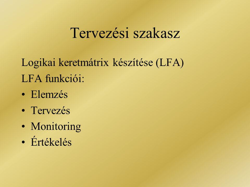 Tervezési szakasz Logikai keretmátrix készítése (LFA) LFA funkciói: Elemzés Tervezés Monitoring Értékelés