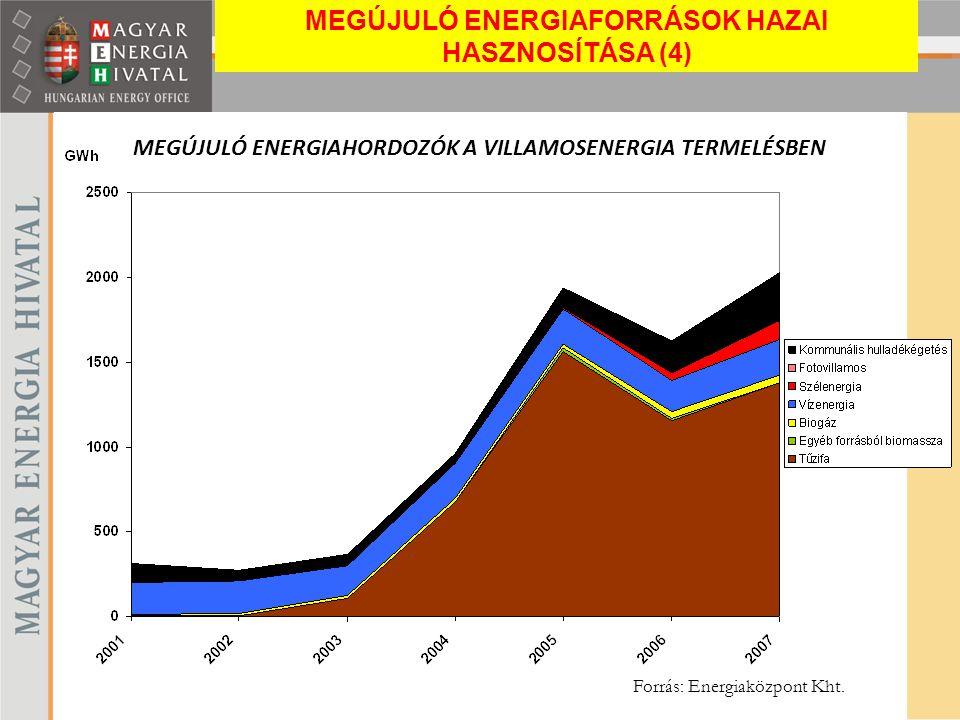 MEGÚJULÓ ENERGIAHORDOZÓK A VILLAMOSENERGIA TERMELÉSBEN Forrás: Energiaközpont Kht. MEGÚJULÓ ENERGIAFORRÁSOK HAZAI HASZNOSÍTÁSA (4)