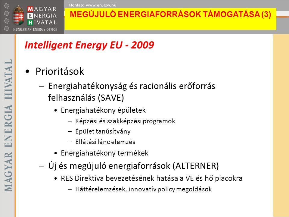 Intelligent Energy EU - 2009 Prioritások –Energiahatékonyság és racionális erőforrás felhasználás (SAVE) Energiahatékony épületek –Képzési és szakképz