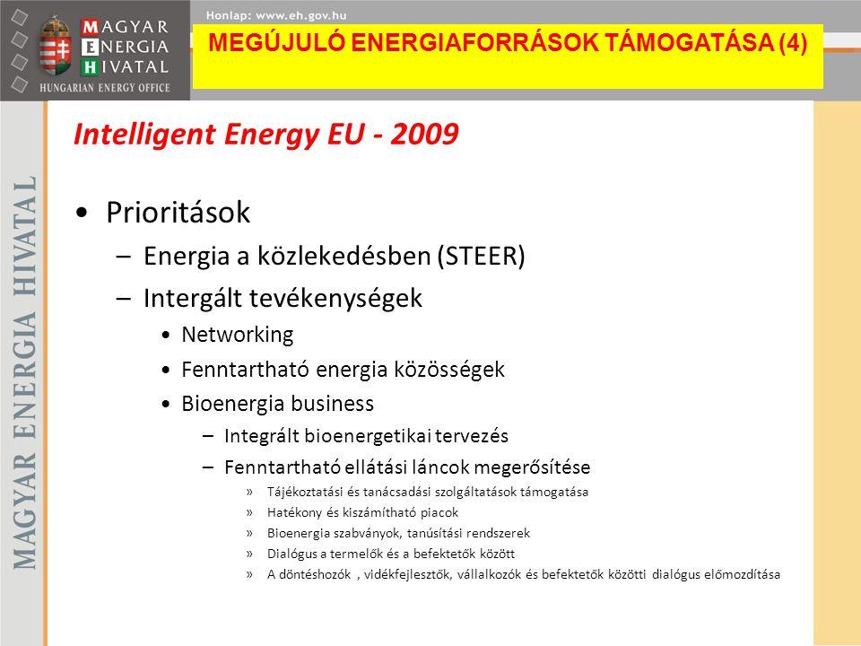 Intelligent Energy EU - 2009 Prioritások –Energia a közlekedésben (STEER) –Intergált tevékenységek Networking Fenntartható energia közösségek Bioenerg
