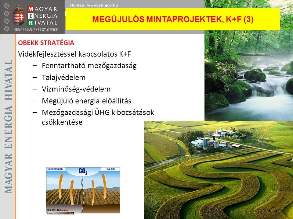 OBEKK STRATÉGIA Vidékfejlesztéssel kapcsolatos K+F –Fenntartható mezőgazdaság –Talajvédelem –Vízminőség-védelem –Megújuló energia előállítás –Mezőgazd