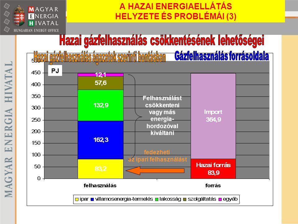 fedezheti az ipari felhasználást Felhasználást csökkenteni vagy más energia- hordozóval kiváltani PJ A HAZAI ENERGIAELLÁTÁS HELYZETE ÉS PROBLÉMÁI (3)