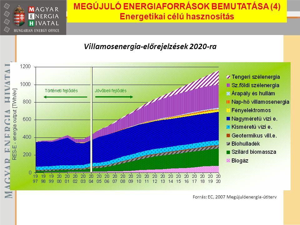 Villamosenergia-előrejelzések 2020-ra Forrás: EC, 2007 Megújulóenergia-útiterv MEGÚJULÓ ENERGIAFORRÁSOK BEMUTATÁSA (4) Energetikai célú hasznosítás