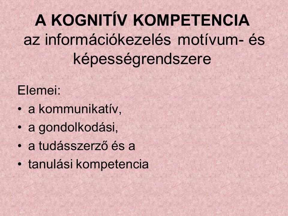 A KOGNITÍV KOMPETENCIA az információkezelés motívum- és képességrendszere Elemei: a kommunikatív, a gondolkodási, a tudásszerző és a tanulási kompeten