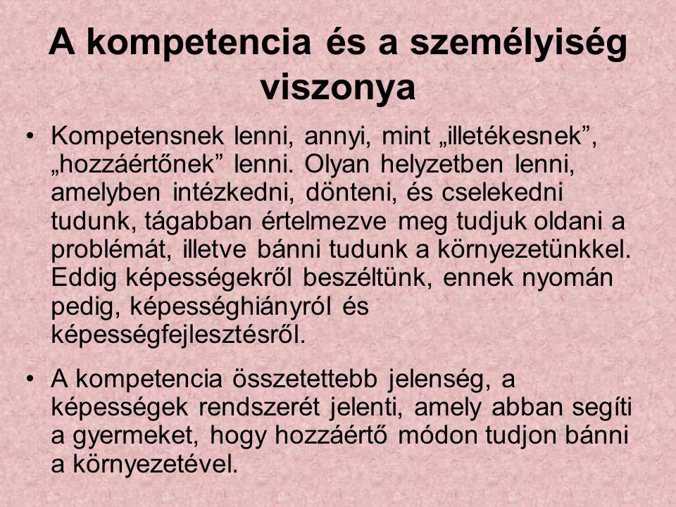 """A kompetencia és a személyiség viszonya Kompetensnek lenni, annyi, mint """"illetékesnek"""", """"hozzáértőnek"""" lenni. Olyan helyzetben lenni, amelyben intézke"""
