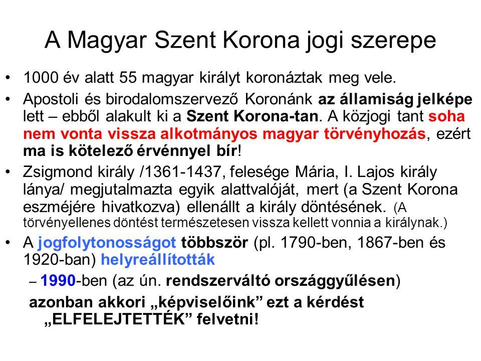 A Magyar Szent Korona jogi szerepe 1000 év alatt 55 magyar királyt koronáztak meg vele. Apostoli és birodalomszervező Koronánk az államiság jelképe le
