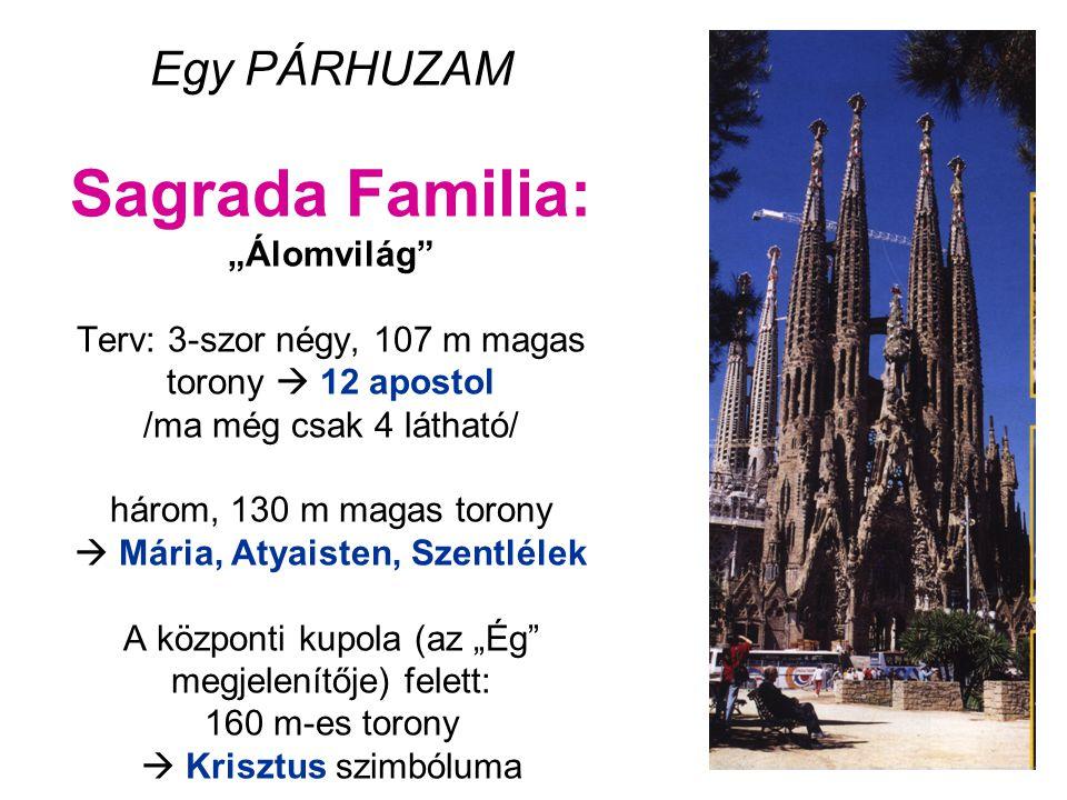 """Egy PÁRHUZAM Sagrada Familia: """"Álomvilág"""" Terv: 3-szor négy, 107 m magas torony  12 apostol /ma még csak 4 látható/ három, 130 m magas torony  Mária"""