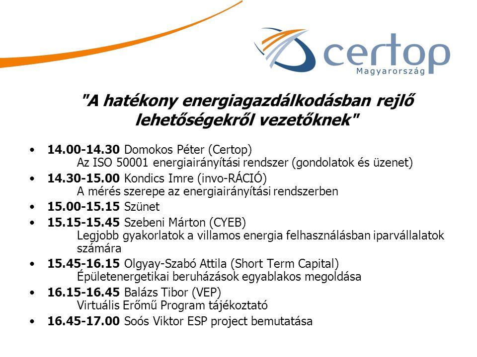 A hatékony energiagazdálkodásban rejlő lehetőségekről vezetőknek 14.00-14.30 Domokos Péter (Certop) Az ISO 50001 energiairányítási rendszer (gondolatok és üzenet) 14.30-15.00 Kondics Imre (invo-RÁCIÓ) A mérés szerepe az energiairányítási rendszerben 15.00-15.15 Szünet 15.15-15.45 Szebeni Márton (CYEB) Legjobb gyakorlatok a villamos energia felhasználásban iparvállalatok számára 15.45-16.15 Olgyay-Szabó Attila (Short Term Capital) Épületenergetikai beruházások egyablakos megoldása 16.15-16.45 Balázs Tibor (VEP) Virtuális Erőmű Program tájékoztató 16.45-17.00 Soós Viktor ESP project bemutatása