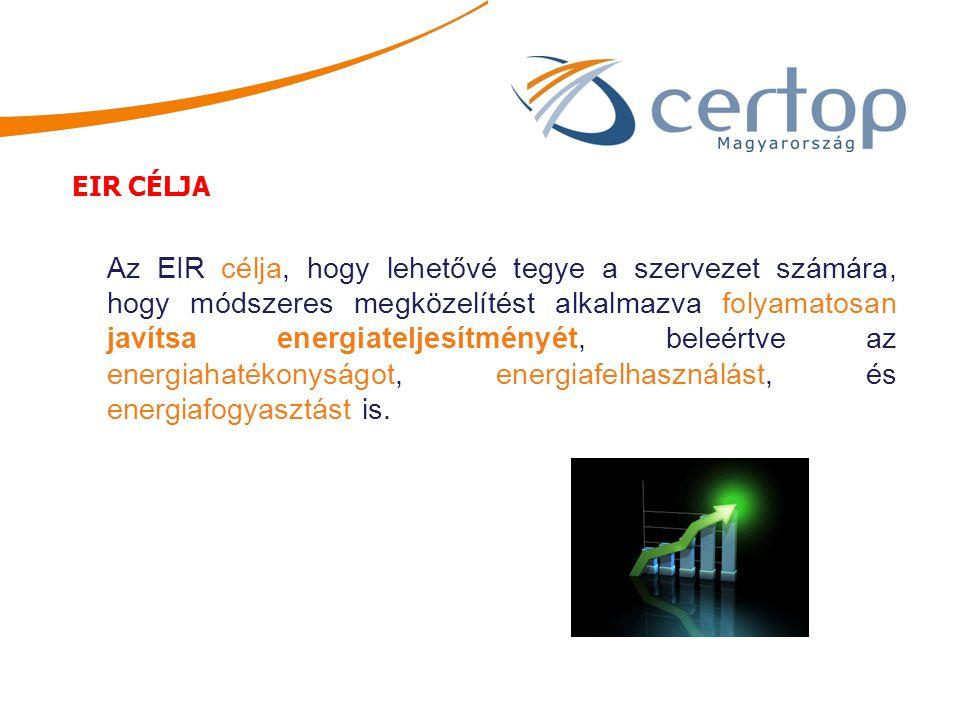 Az EIR célja, hogy lehetővé tegye a szervezet számára, hogy módszeres megközelítést alkalmazva folyamatosan javítsa energiateljesítményét, beleértve a