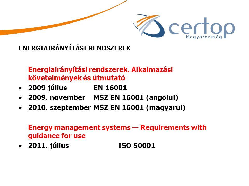 Energiairányítási rendszerek. Alkalmazási követelmények és útmutató 2009 július EN 16001 2009. november MSZ EN 16001 (angolul) 2010. szeptember MSZ EN