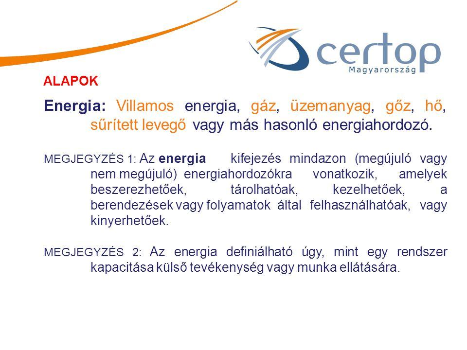 Energia: Villamos energia, gáz, üzemanyag, gőz, hő, sűrített levegő vagy más hasonló energiahordozó. MEGJEGYZÉS 1: Az energia kifejezés mindazon (megú