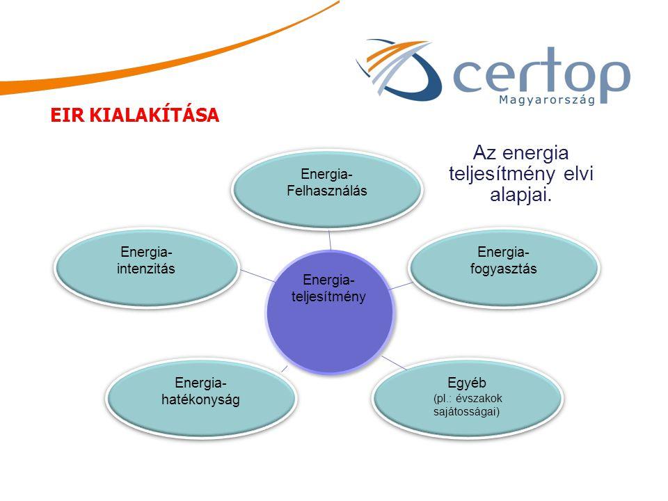 Energia- Felhasználás Energia- Felhasználás Energia- intenzitás Energia- intenzitás Energia- hatékonyság Energia- hatékonyság Egyéb (pl.: évszakok saj