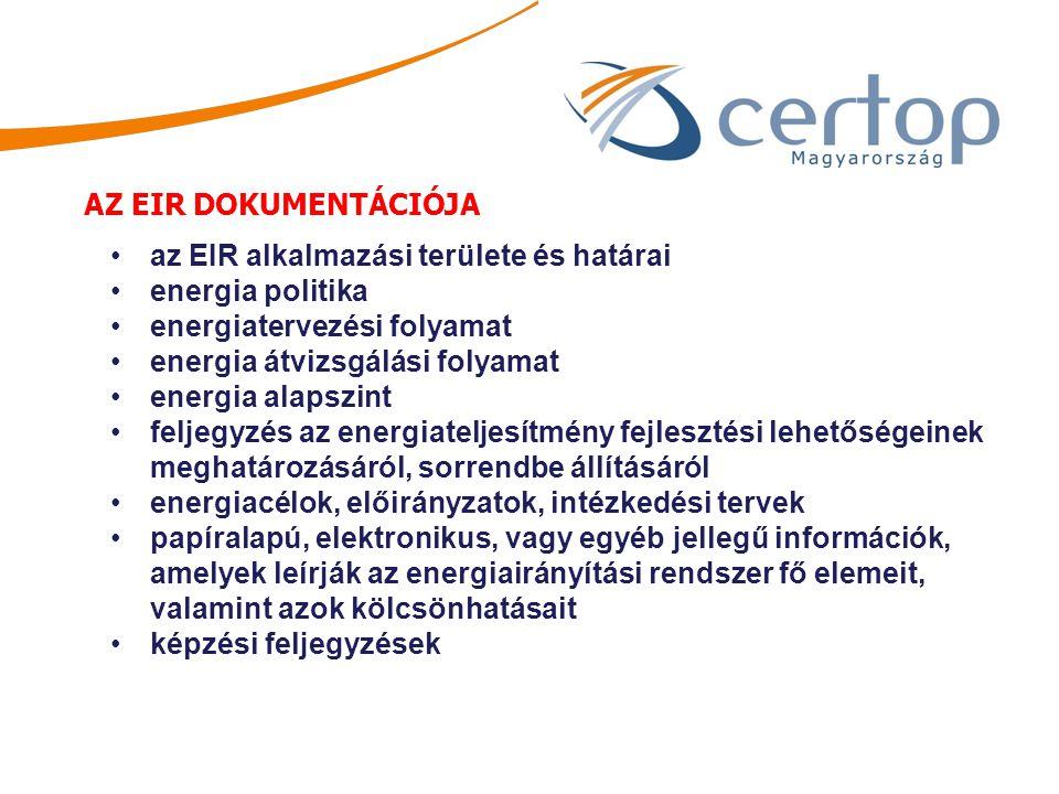 AZ EIR DOKUMENTÁCIÓJA az EIR alkalmazási területe és határai energia politika energiatervezési folyamat energia átvizsgálási folyamat energia alapszin