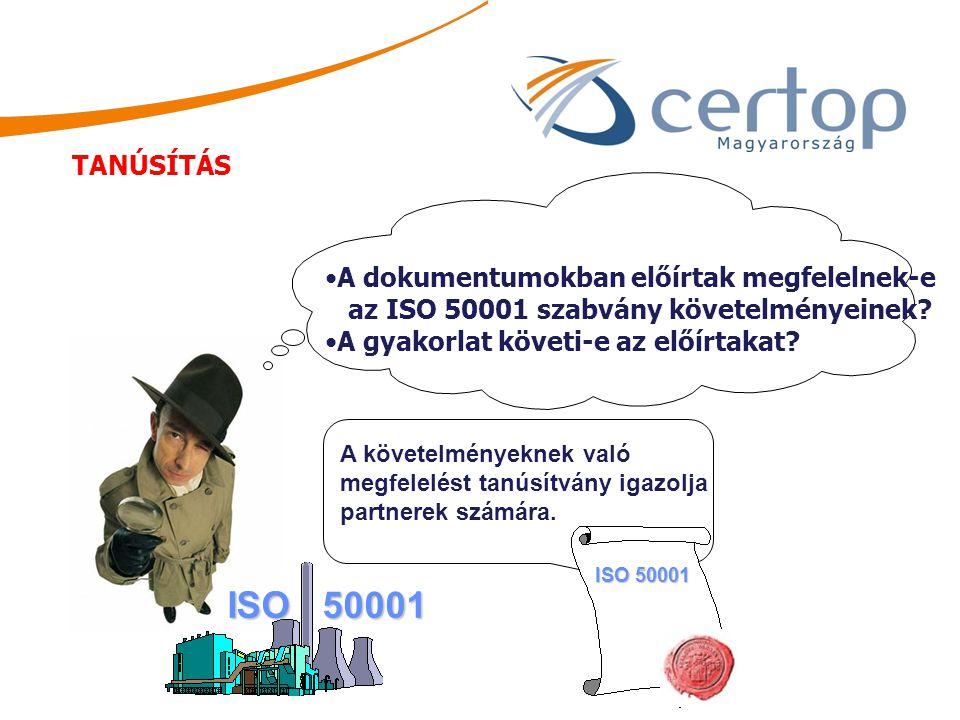 A dokumentumokban előírtak megfelelnek-e az ISO 50001 szabvány követelményeinek? A gyakorlat követi-e az előírtakat? ISO 50001 A követelményeknek való