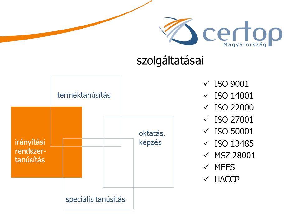 szolgáltatásai ISO 9001 ISO 14001 ISO 22000 ISO 27001 ISO 50001 ISO 13485 MSZ 28001 MEES HACCP terméktanúsítás oktatás, képzés irányítási rendszer- ta
