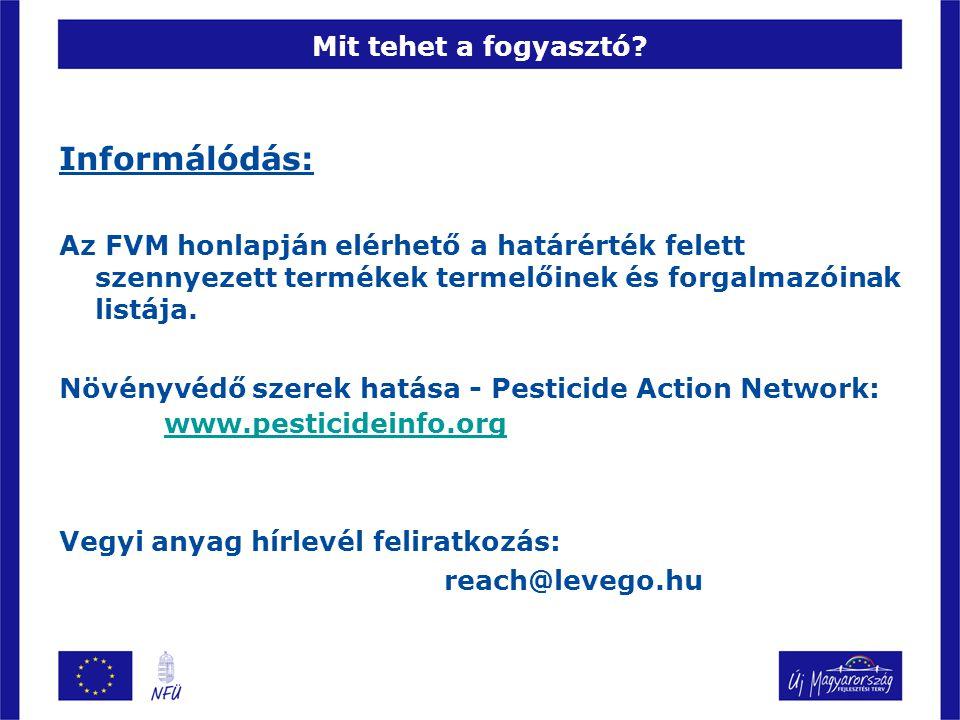 Mit tehet a fogyasztó? Informálódás: Az FVM honlapján elérhető a határérték felett szennyezett termékek termelőinek és forgalmazóinak listája. Növényv