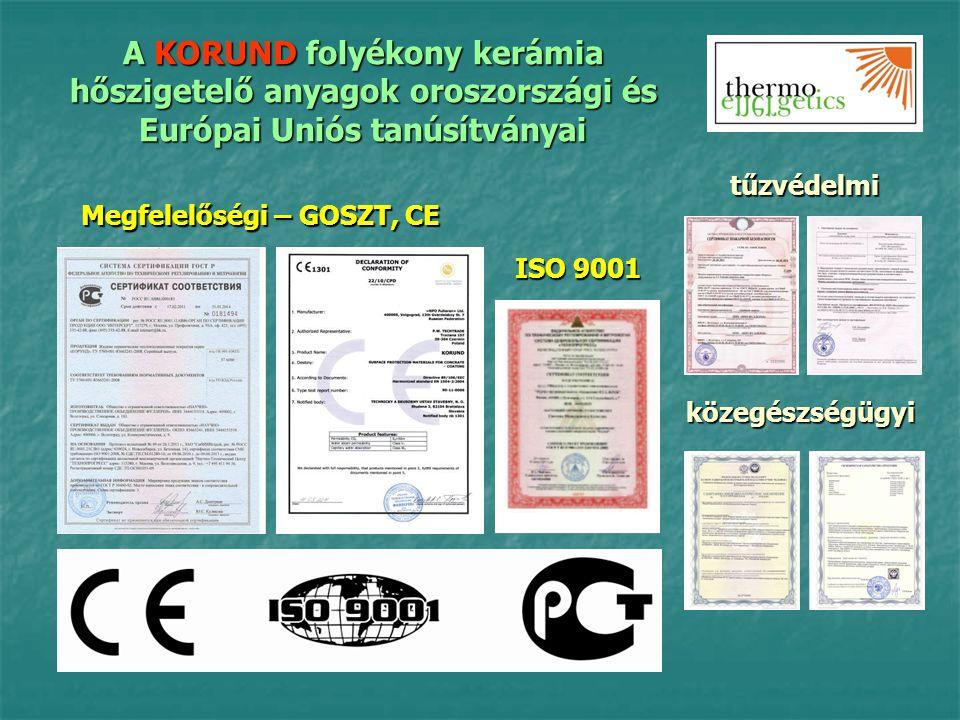 A KORUND folyékony kerámia hőszigetelő anyagok oroszországi és Európai Uniós tanúsítványai Megfelelőségi – GOSZT, CE ISO 9001 tűzvédelmi közegészségüg