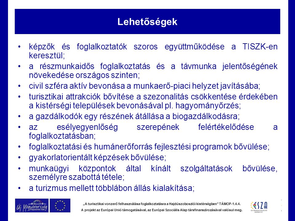 """""""A turisztikai vonzerő felhasználása foglalkoztatásra a Hajdúszoboszlói kistérségben"""" TÁMOP-1.4.4. A projekt az Európai Unió támogatásával, az Európai"""