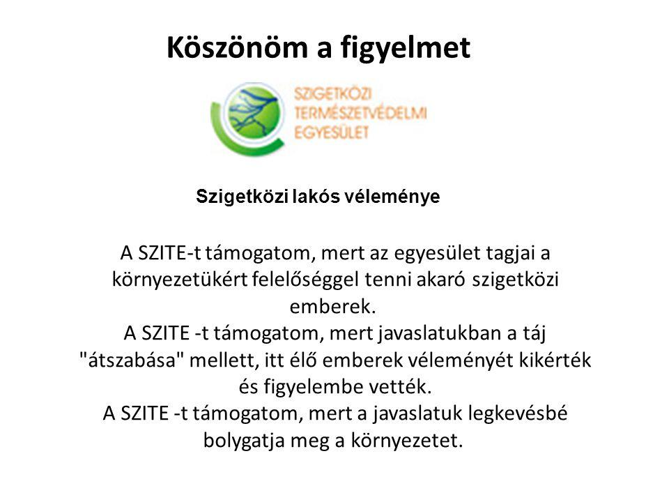 Köszönöm a figyelmet A SZITE-t támogatom, mert az egyesület tagjai a környezetükért felelőséggel tenni akaró szigetközi emberek. A SZITE -t támogatom,