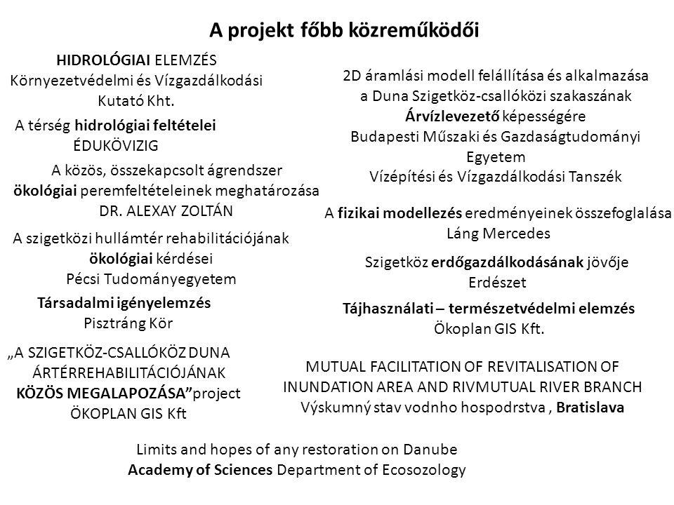 """A fizikai modellezés eredményeinek összefoglalása Láng Mercedes 2D áramlási modell felállítása és alkalmazása a Duna Szigetköz-csallóközi szakaszának Árvízlevezető képességére Budapesti Műszaki és Gazdaságtudományi Egyetem Vízépítési és Vízgazdálkodási Tanszék Szigetköz erdőgazdálkodásának jövője Erdészet Társadalmi igényelemzés Pisztráng Kör A szigetközi hullámtér rehabilitációjának ökológiai kérdései Pécsi Tudományegyetem MUTUAL FACILITATION OF REVITALISATION OF INUNDATION AREA AND RIVMUTUAL RIVER BRANCH Výskumný stav vodnho hospodrstva, Bratislava A térség hidrológiai feltételei ÉDUKÖVIZIG Limits and hopes of any restoration on Danube Academy of Sciences Department of Ecosozology """"A SZIGETKÖZ-CSALLÓKÖZ DUNA ÁRTÉRREHABILITÁCIÓJÁNAK KÖZÖS MEGALAPOZÁSA project ÖKOPLAN GIS Kft HIDROLÓGIAI ELEMZÉS Környezetvédelmi és Vízgazdálkodási Kutató Kht."""