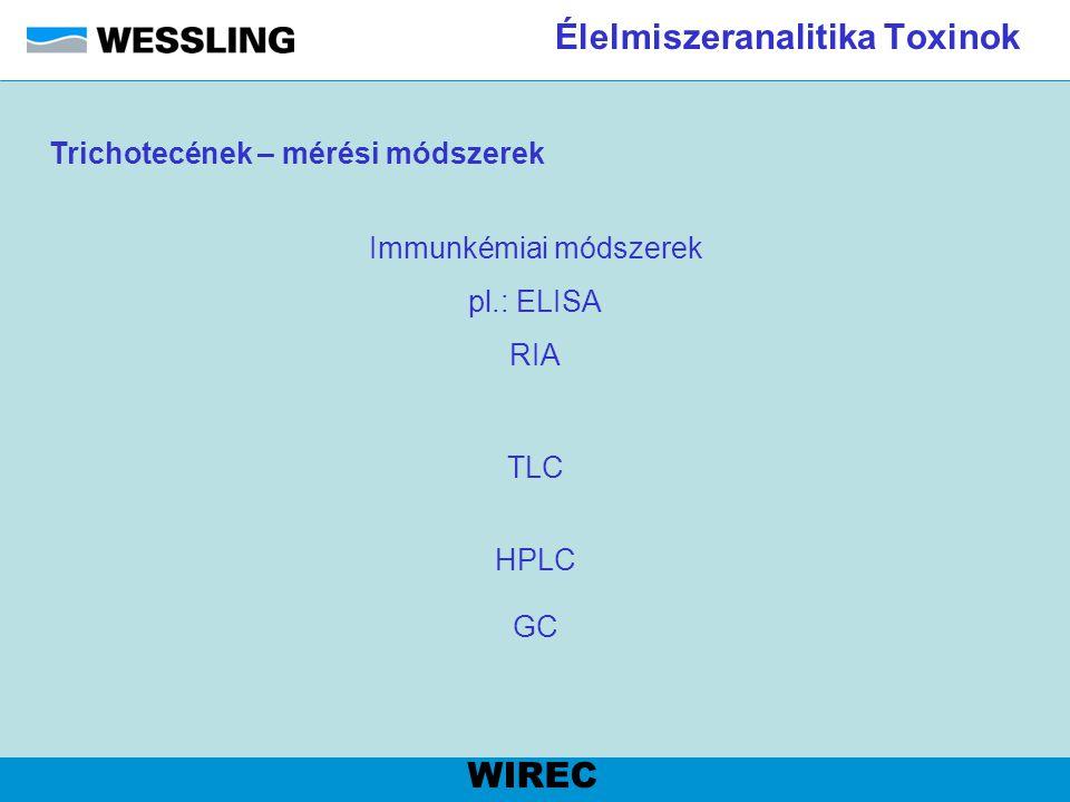 Élelmiszeranalitika Toxinok WIREC TLC Immunkémiai módszerek pl.: ELISA RIA HPLC GC Trichotecének – mérési módszerek