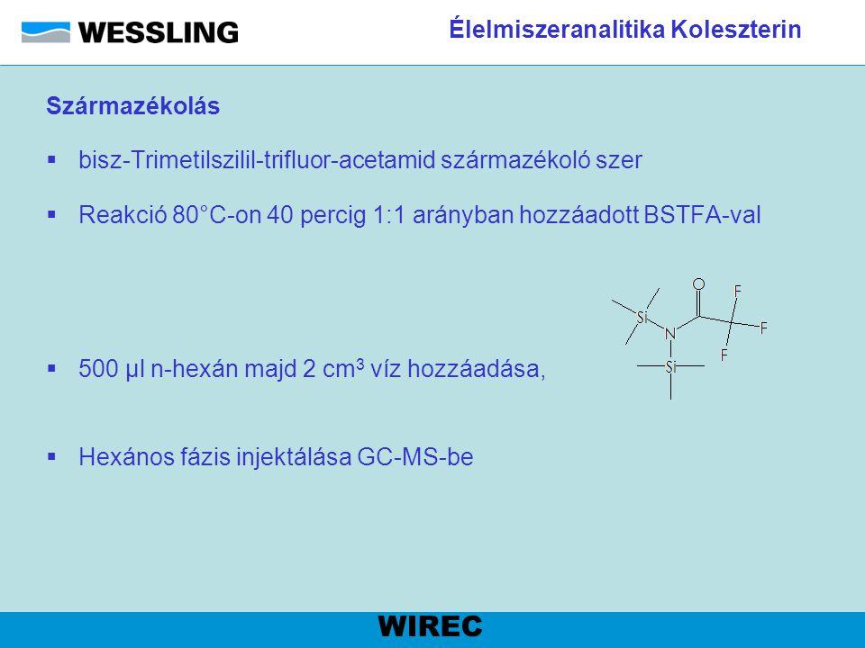 Élelmiszeranalitika Koleszterin Származékolás  bisz-Trimetilszilil-trifluor-acetamid származékoló szer  Reakció 80°C-on 40 percig 1:1 arányban hozzá