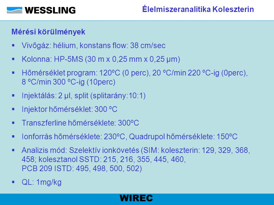 Élelmiszeranalitika Koleszterin Mérési körülmények  Vivőgáz: hélium, konstans flow: 38 cm/sec  Kolonna: HP-5MS (30 m x 0,25 mm x 0,25 µm)  Hőmérsék