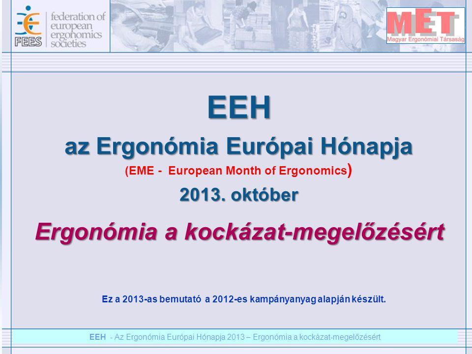 """EEH – Az ergonómia európai hónapja 2012 – Ergonómia a kockázat megelőzésért EEH - Az Ergonómia Európai Hónapja 2013 – Ergonómia a kockázat-megelőzésért Az """"ergonómia kockázatok is folytonos monitorizálást igényelnek A munkahelyen folyamatosan történnek változások - ennélfogva folyamatos ellenőrzésre és fejlesztésre van szükség."""