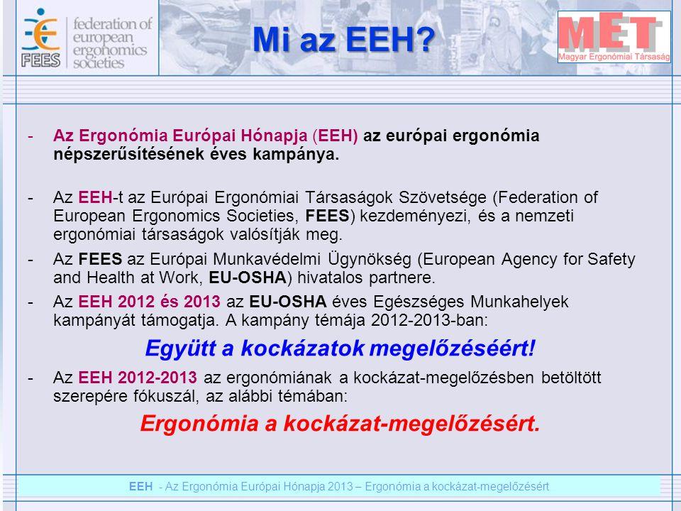 EEH – Az ergonómia európai hónapja 2012 – Ergonómia a kockázat megelőzésért EEH - Az Ergonómia Európai Hónapja 2013 – Ergonómia a kockázat-megelőzésért Az ergonómiai kockázat-megelőzés mindannyiunk felelőssége Az ergonómiához kapcsolódó kockázat-felmérés különböző szakaszaiban számos szereplő vesz részt, pl.: -A gépek és a gyártó rendszer tervezői.