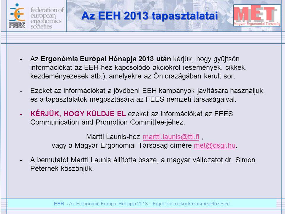 EEH – Az ergonómia európai hónapja 2012 – Ergonómia a kockázat megelőzésért EEH - Az Ergonómia Európai Hónapja 2013 – Ergonómia a kockázat-megelőzésért Az EEH 2013 tapasztalatai -Az Ergonómia Európai Hónapja 2013 után kérjük, hogy gyűjtsön információkat az EEH-hez kapcsolódó akciókról (események, cikkek, kezdeményezések stb.), amelyekre az Ön országában került sor.