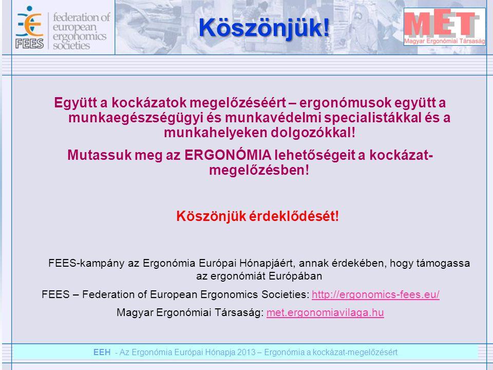 EEH – Az ergonómia európai hónapja 2012 – Ergonómia a kockázat megelőzésért EEH - Az Ergonómia Európai Hónapja 2013 – Ergonómia a kockázat-megelőzésért Köszönjük.