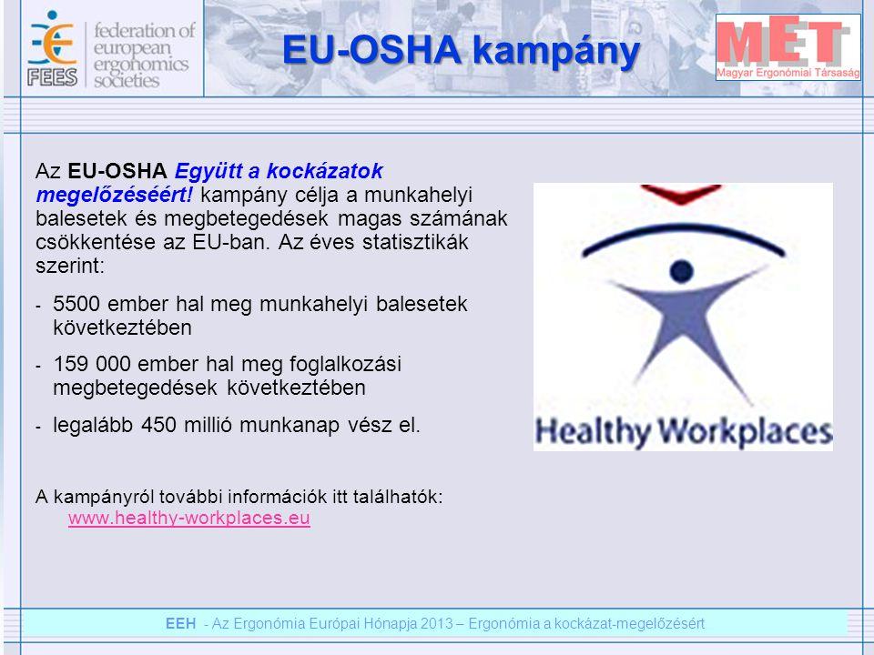 EEH – Az ergonómia európai hónapja 2012 – Ergonómia a kockázat megelőzésért EEH - Az Ergonómia Európai Hónapja 2013 – Ergonómia a kockázat-megelőzésért Az EU-OSHA kampány aktív együttműködésre szólít fel a vállalatok minden foglalkoztatási csoportja között a kockázatok megelőzésére a munkahelyen.